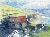 Irland aquarell, Aquarell, Küste