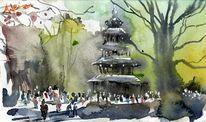 Chinesischer turm, München, Aquarellmalerei, Englischer garten