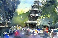 Turm, Garten, Muenchen, Aquarell