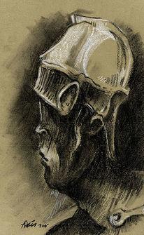 Portrait, Helm, Zeichnung, Kreide