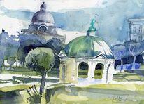 Hofgarten, Aquarellmalerei, München, Aquarell