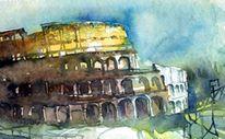 Aquarell rom kolosseum, Aquarell, Rom