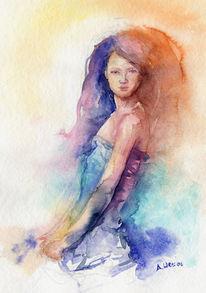Lady aquarell aweis, Aquarell, Figural