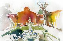Villa, Aquarellmalerei, Lenbach, Aquarell