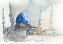Moschee aquarell aweis, Malerei, Moschee