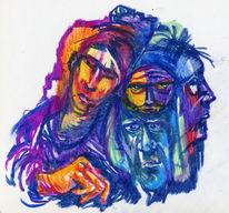 Traum aweis oelpastellkreide, Pastellmalerei, Zeichnungen, Portrait