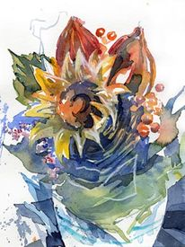 Aquarellmalerei, Blumen, Blumentopf, Sonnenblumen