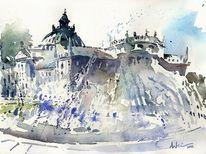 Justizpalast, Brunnen, München, Aquarellmalerei