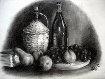 Zeichnung, Kohlezeichnung, Wein, Obst