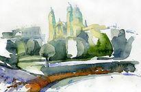Hofgarten, Aquarellmalerei, Theatiner, Kirche