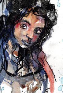 Lady aweis aquarell, Aquarell, Figural