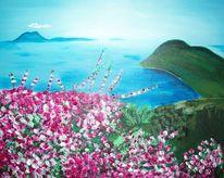 Traum, Blau, Acrylmalerei, Blumen