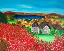 Rot, Haus, Blau, Landschaft
