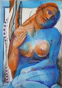 Brust, Blau, Sehnsucht, Akt