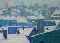 Winterlandschaft, Blau, Schnee, Dach