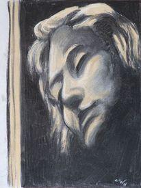 Menschen, Frau, Schmerz, Zeichnung