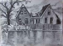 Grafik, Haus, Spiegelung, Kanal