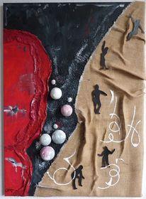 Schöpfung, Collage, Jute, Figur