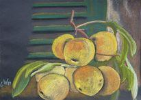 Pastellmalerei, Obst, Gelb, Früchte