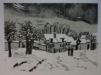 Dorf, Baum, Linolschnitt, Grafik