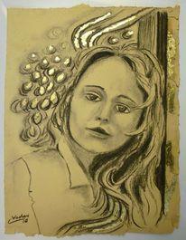 Portrait, Kohlezeichnung, Grafik, Gold