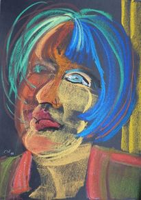 Kreide, Portrait, Menschen, Frau