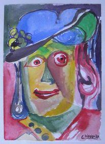 Aquarellmalerei, Hut, Dame, Menschen