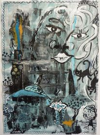 Baum, Acrylmalerei, Katze, Kamel