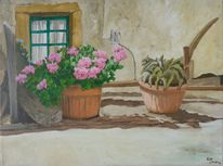 Mediterran, Malerei, Urlaub, Stillleben