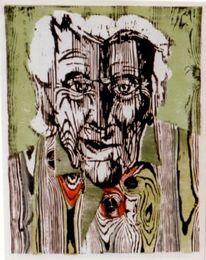 Portrait, Druck, Holzschnitt, Maserung