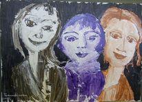 Freunde, Frau, Portrait, Gruppenporträt