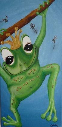 Frosch, Gemälde, Blau, Krone
