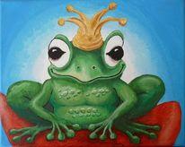 Grün, Lustig, Frosch, Acrylmalerei