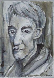 Grau, Menschen, Aquarellmalerei, Alter mann