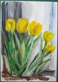 Gelb, Blumen, Frühling, Aquarellmalerei