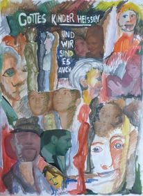 Kopf, Bibel, Menschen, Aquarellmalerei