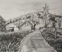 Landschaft, Kohlezeichnung, Grafik, Weg