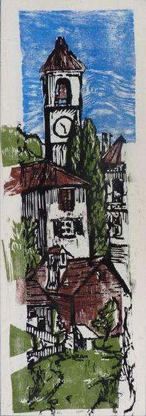 Holzschnitt, Häuser, Holzdruck, Italien