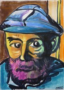 Bunt, Kopf, Portrait, Alter mann