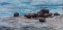 Landschaft, Strand, Gemälde, Meer
