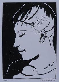 Hochdruck, Linolschnitt, Frau, Linoldruck