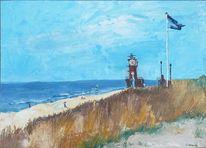Sand, Leuchtturm, Fahne, Acrylmalerei