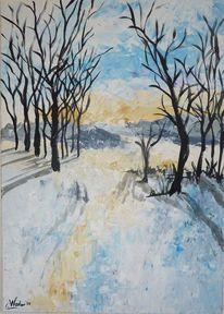 Schnee, Acrylmalerei, Baum, Himmel