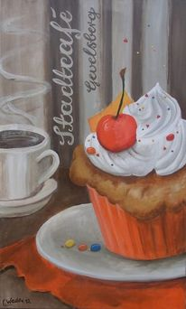 Schrift, Acrylmalerei, Stadtcafé, Kuchen