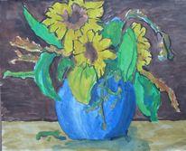 Vase, Sonnenblumen, Gelb, Blüten