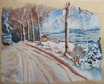 Waldweg, Winter, Winterlandschaft, Wald