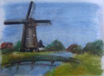 Kanal, Pastellmalerei, Zeichnung, Blau
