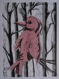 Wintervogel, Linoldruck, Linol, Vogel