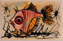 Fisch, Laminieren, Taschenkunst, Aquarellmalerei