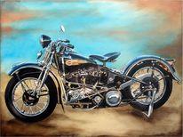 Fotorealismus, Knucklehead, Harley, Acrylmalerei